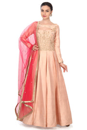 Art Silk Suit Set in Peach