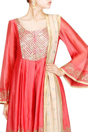 Art Silk Suit Set in Red
