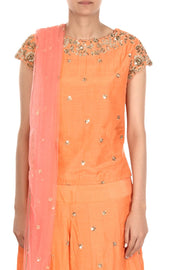 Art Silk Suit Set in Orange