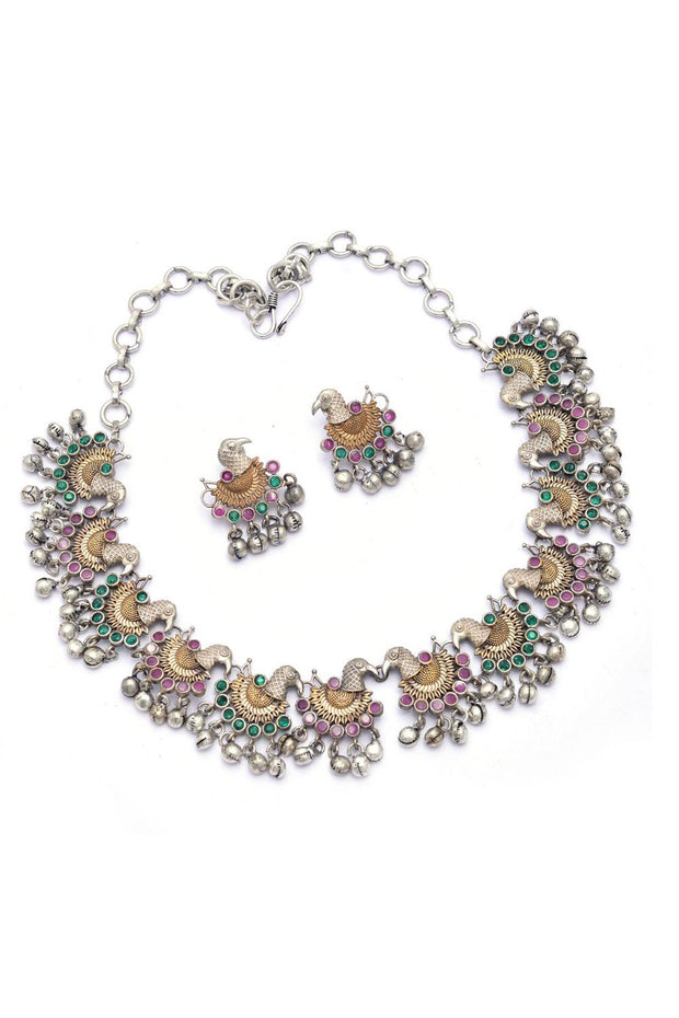 Women's Brass Necklace Set in Green and Purple
