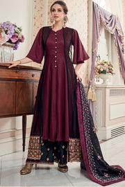 Net Embroidered Salwar Suit in Wine