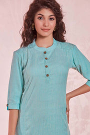 Rayon Solid Kurti Set in Sky Blue