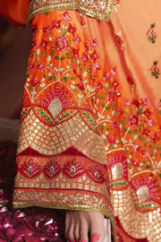 Art Silk Embroidered Saree in Light Orange