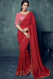 Art Silk Embroidered Saree in Dark Red
