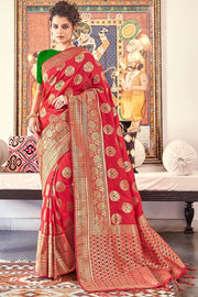 Art Silk Woven Saree in Red