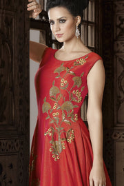 Art Silk Embroidered Dress Material in Orange