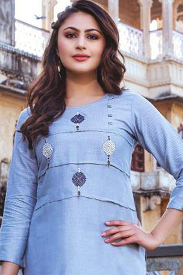 Rayon Embroidered Top Set in Light Blue