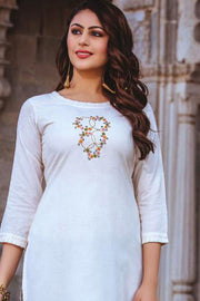 Rayon Embroidered Top Set in White