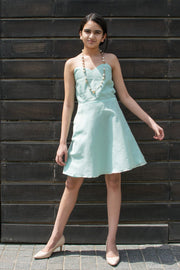 Girl's Pure Cotton Dress in Powder Blue