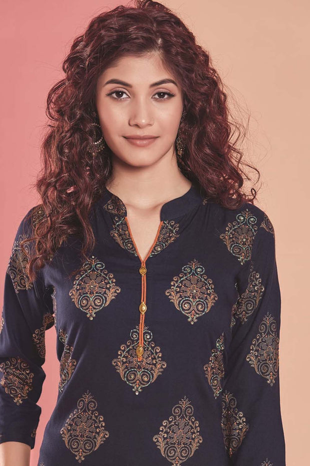 Rayon Printed Kurti Set in Navy Blue