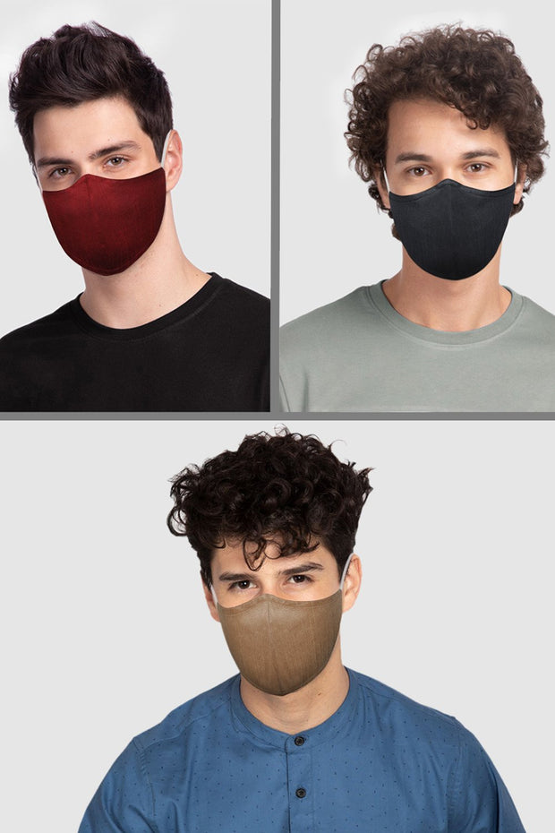 Unisex Cotton Blend Face Mask in Maroon