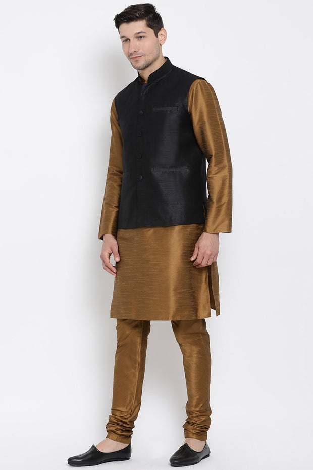 Men's Cotton Art Silk Kurta Set in Brown