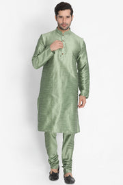 Men's Cotton Art Silk Kurta Set in Light Green
