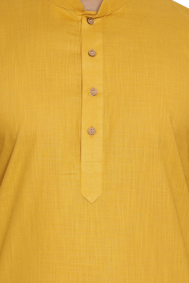 Men's Blended Cotton Kurta in Yellow