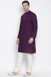 Men's Blended Cotton Kurta Set in Purple