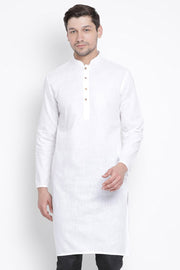 Men's Blended Cotton Kurta in White