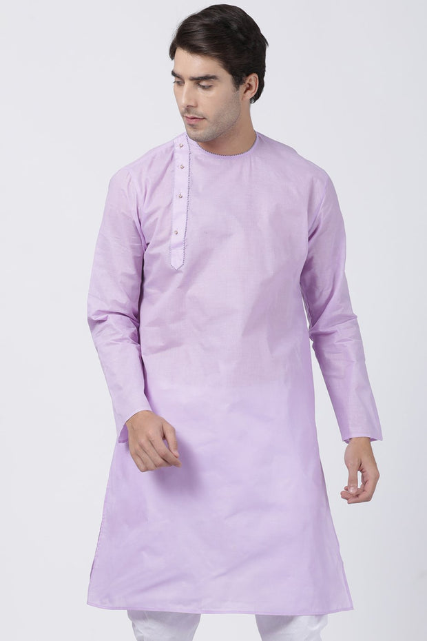 Men's Blended Cotton Kurta in Purple