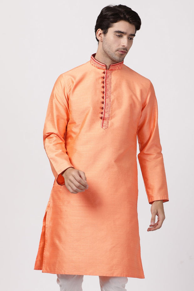 Men's Cotton Art Silk Kurta in Peach