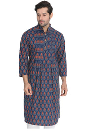 Men's Blended Cotton Kurta in Dark Blue