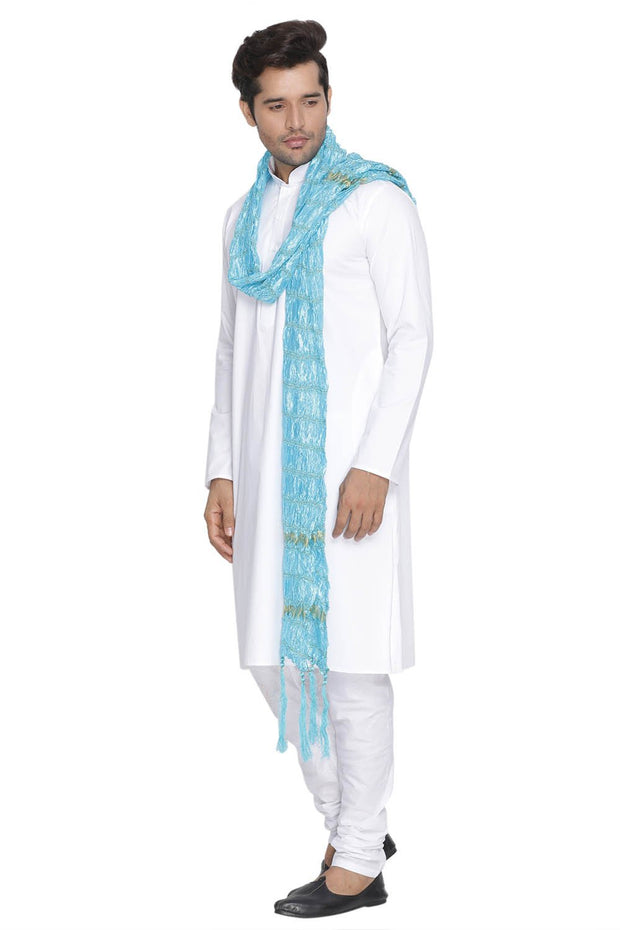 Men's Blended Cotton Kurta Set in White