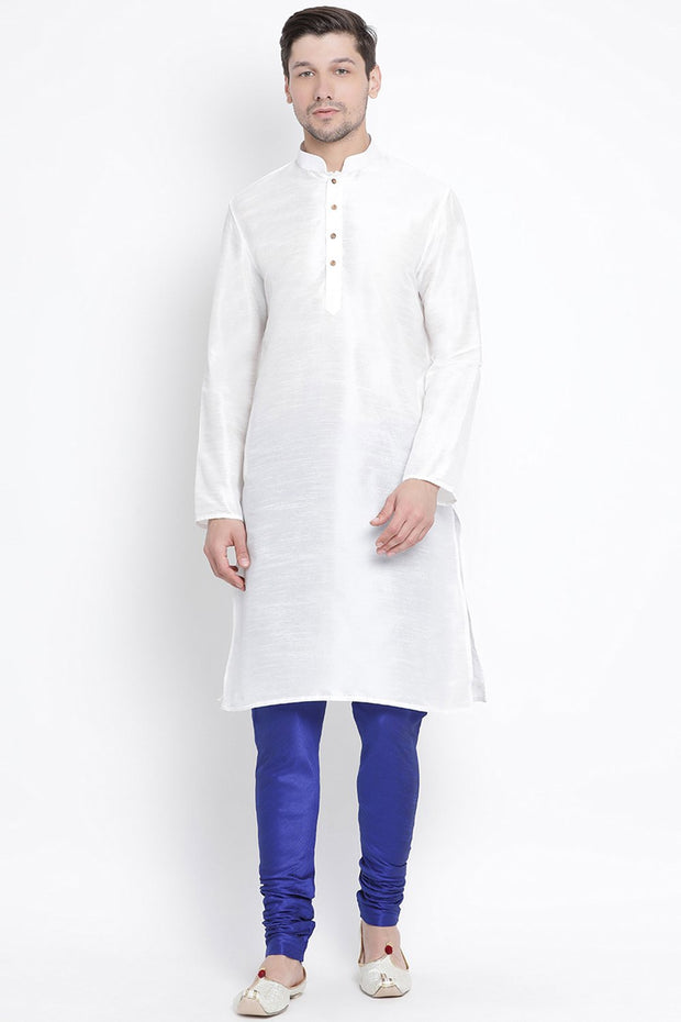 Men's Cotton Art Silk Kurta Set in White