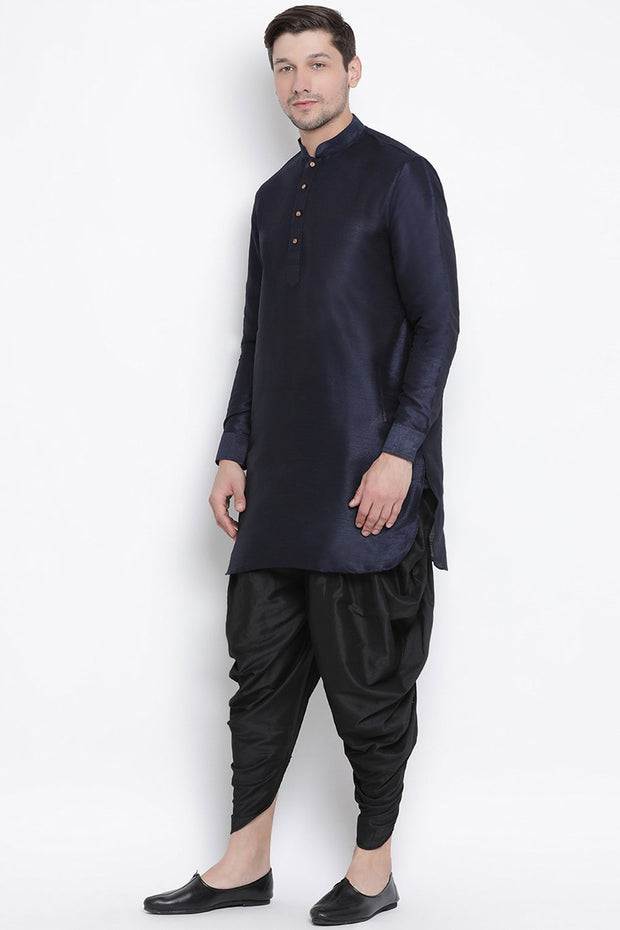 Men's Cotton Art Silk Kurta Set in Dark Blue