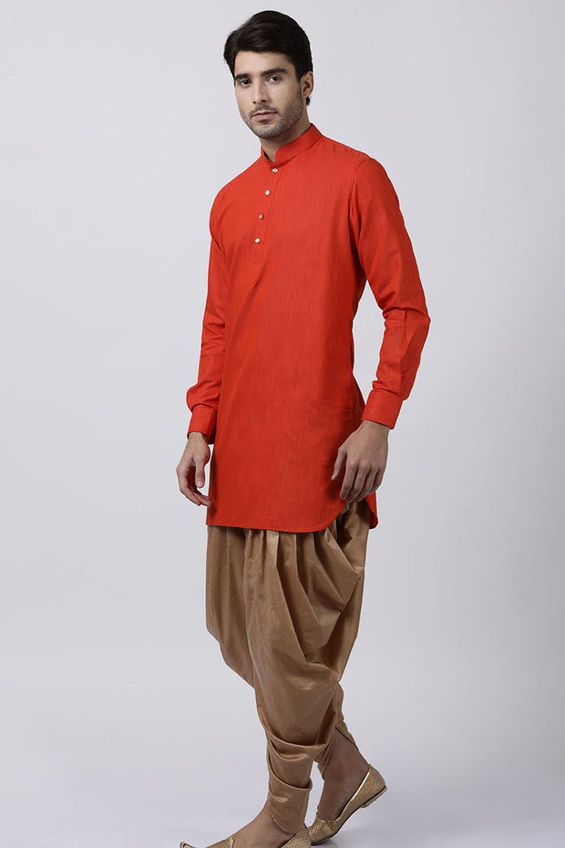 Men's Blended Cotton Kurta Set in Red