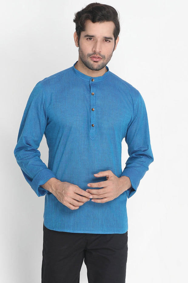 Men's Pure Cotton Kurta in Blue