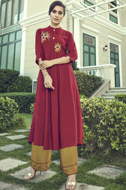 Blended Cotton Embroidered Top Set in Dark Red