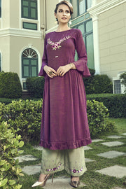 Blended Cotton Embroidered Top Set in Wine