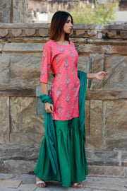 Rayon Kurta Set in Peach