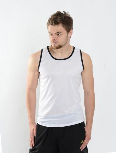 Mens White/Black Vest