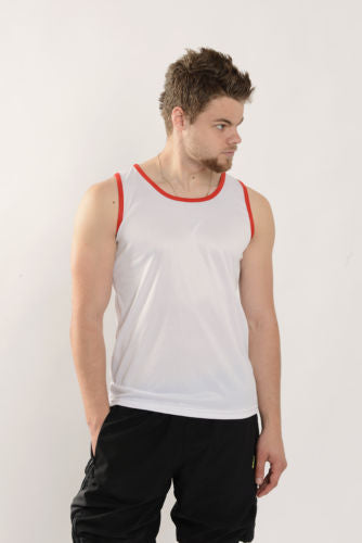Mens White/Red Vest