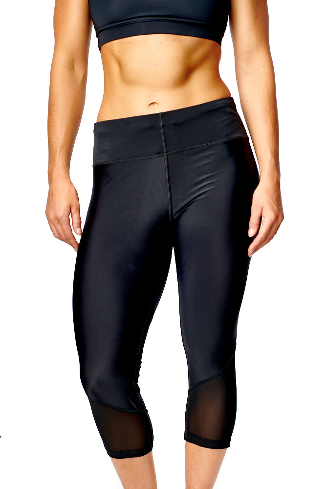 Womens 3/4 Mesh Panel Leggings