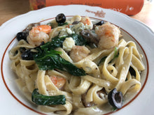 Load image into Gallery viewer, Gorgonzola Alfredo w shrimp, spinach, mushrooms and black olives