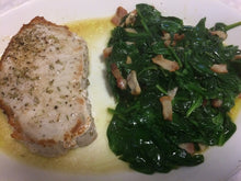Load image into Gallery viewer, Chicken, pork chop or salmon with bacon fried greens