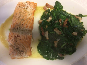 Chicken, pork chop or salmon with bacon fried greens