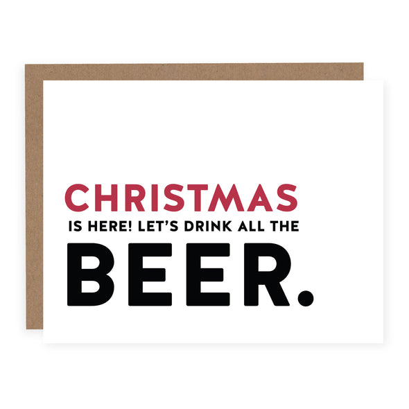 Christmas is Here Let's Drink All the Beer | Card or Boxed Set