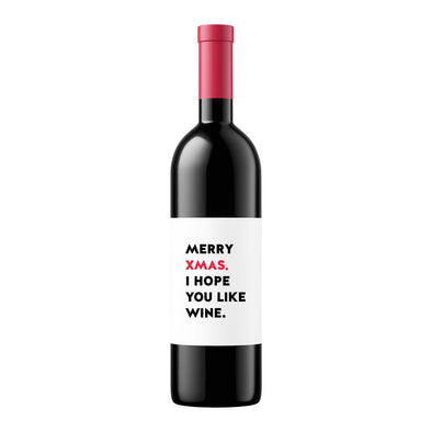 Merry Xmas I Hope You Like Wine | Wine Label