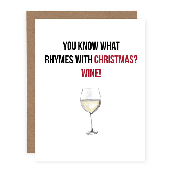 Rhymes with Christmas Wine | Card or Boxed Set