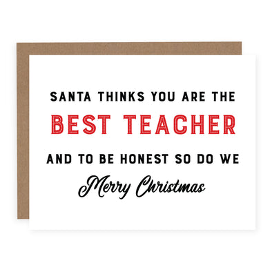 Santa Thinks You're the Best Teacher | Card or Boxed Set