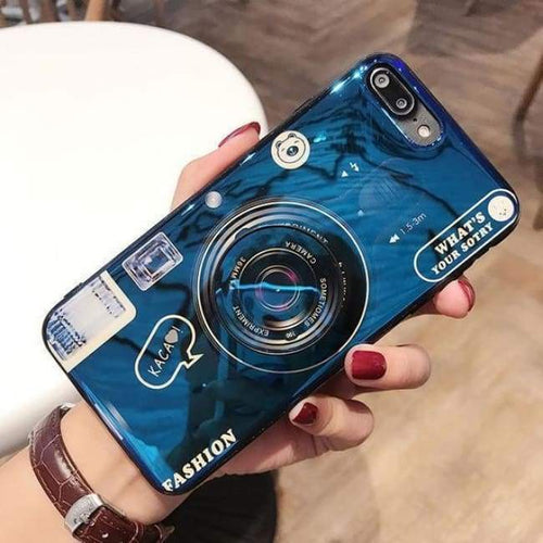 Camera Lens Case With Pop Socket - Blue / For Iphone Xsmax - Fitted Cases