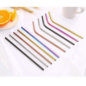 Colorful Stainless Steel Drinking Straws Straight And Bent Reusable - Kitchen