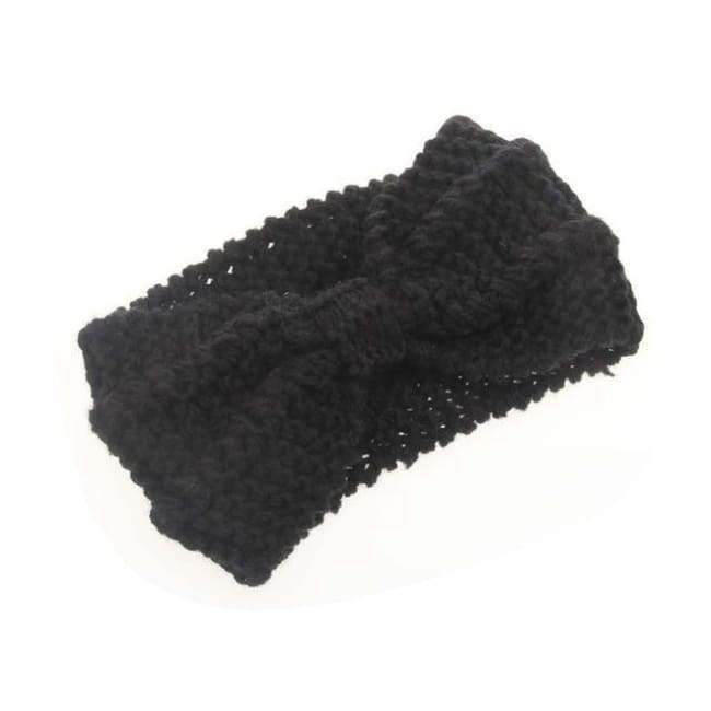 Knitted Winter Warming Headband - Black - Hair Accessories