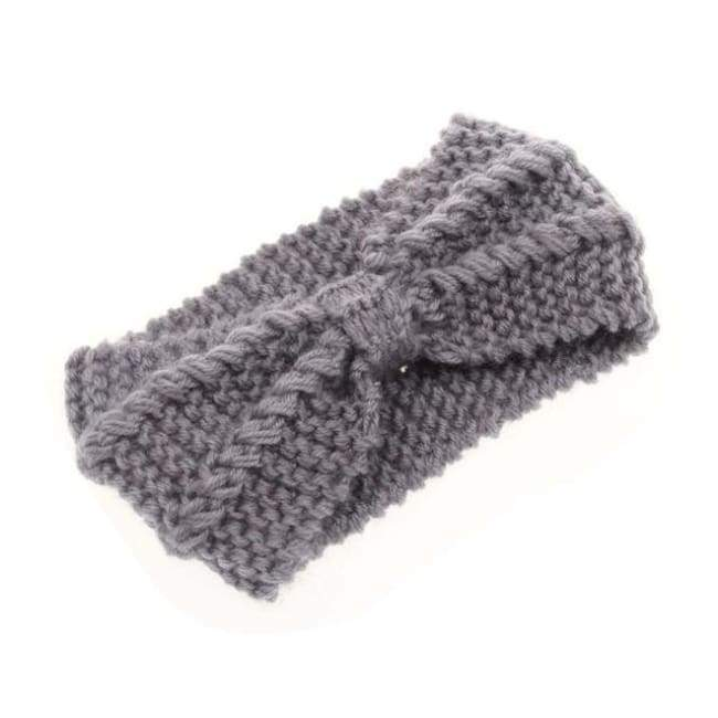 Knitted Winter Warming Headband - Dark Grey - Hair Accessories