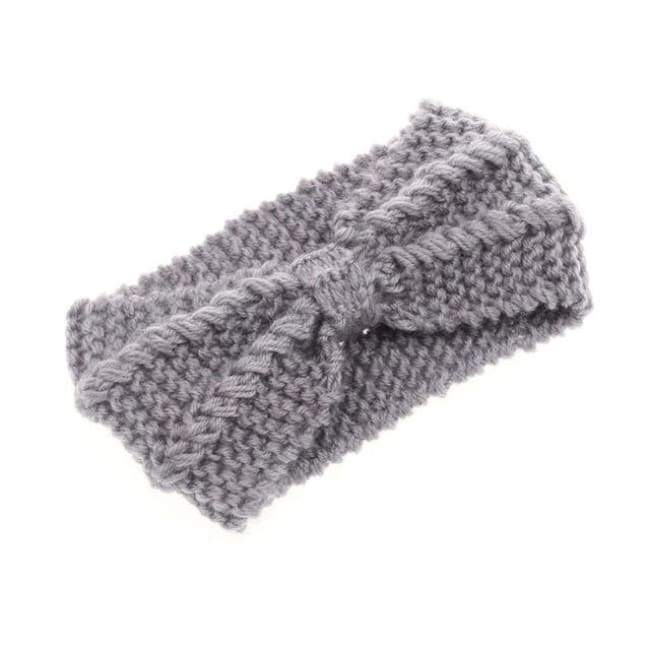 Knitted Winter Warming Headband - Grey - Hair Accessories
