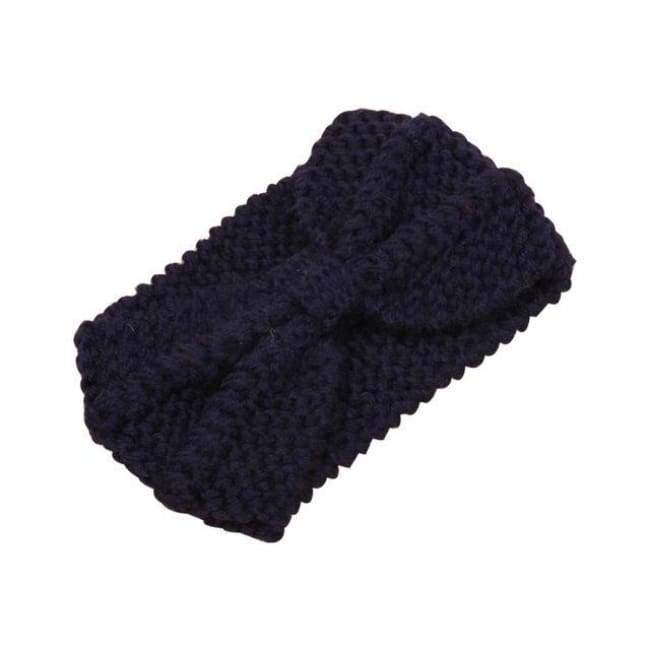 Knitted Winter Warming Headband - Navy - Hair Accessories