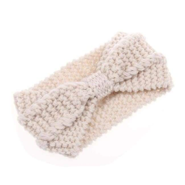 Knitted Winter Warming Headband - White - Hair Accessories