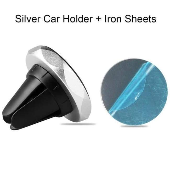 Magnetic Hands Free Phone Mount - Silver