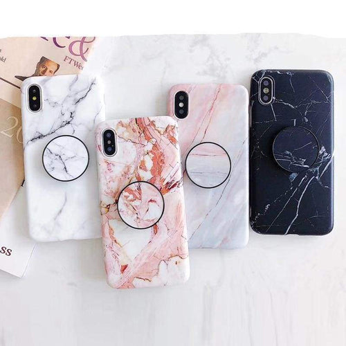 Marble Iphone Case With Matching Pop Socket - Iphone